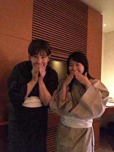Wearing yukata robes at Peninsula Tokyo